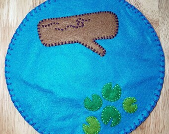 Pond felt play mat/ Felt/ Play/ Montessori/ Waldorf/ Open ended play/ Imagination/ Pond