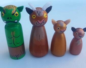 The Three Billy Goats Gruff/ Small World Play/ Open Ended Play/ Preschool / Montessori/ Waldorf / Wooden Toys / Educational/ School/ Troll