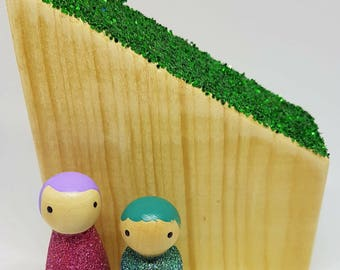 Glitter buildings/ Houses/Wooden Toys/ Play/ Toys/ Montessori/ Waldorf/ Open Ended Play/ Wooden shapes