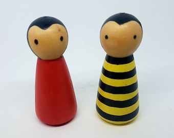 Bumble Bee and Ladybird/ Tic Tac Toe/ Peg Doll / Small World Play / Preschool / Play / Montessori / Waldorf / Wooden Toys / Educational