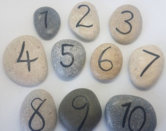 Number Stones/ Story Stones/ Learning/ Numbers/ School/ Play/ 1-10/ Montessori/ Waldorf/ Stones/ Maths
