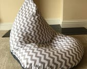 Large adult chevron grey beanbag bean bag gaming reading chair not guaranteed for Christmas delivery