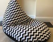 Childrens kids chevron black beanbag chair
