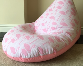 Children childs pink flamingo beanbag bean bag gaming reading chair made to  order 09d56f65f67d8