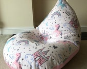 Childrens kids pink unicorn castle beanbag beanbag gaming reading chair made to order