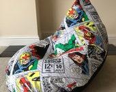 Large adult gaming beanbag bean bag chair Super Hero Retro Marvel Avengers reading gaming