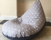 Large adult star grey beanbag bean bag gaming reading chair made to order
