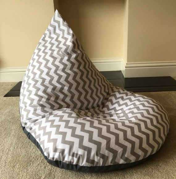 Incredible Large Adult Chevron Grey Beanbag Beanbag Gaming Reading Chair Made To Order Bralicious Painted Fabric Chair Ideas Braliciousco