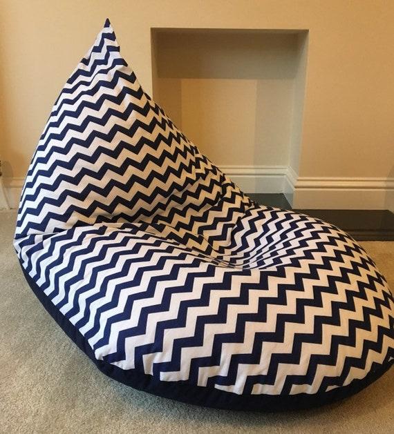 Amazing Large Adult Chevron Navy Blue Beanbag Beanbag Gaming Reading Chair Made To Order Inzonedesignstudio Interior Chair Design Inzonedesignstudiocom
