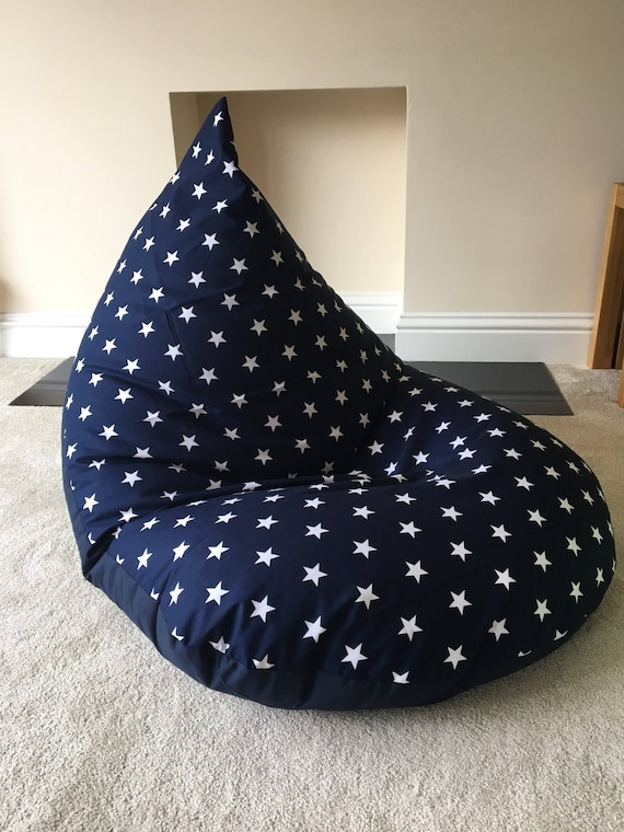 Outstanding Large Adult Star Navy Blue Beanbag Bean Bag Gaming Reading Chair Made To Order Bralicious Painted Fabric Chair Ideas Braliciousco