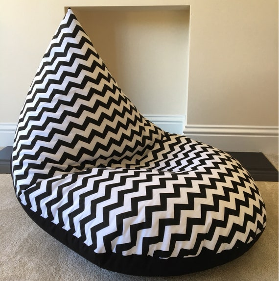Tremendous Large Adult Chevron Black Beanbag Beanbag Gaming Reading Chair Made To Order Bralicious Painted Fabric Chair Ideas Braliciousco