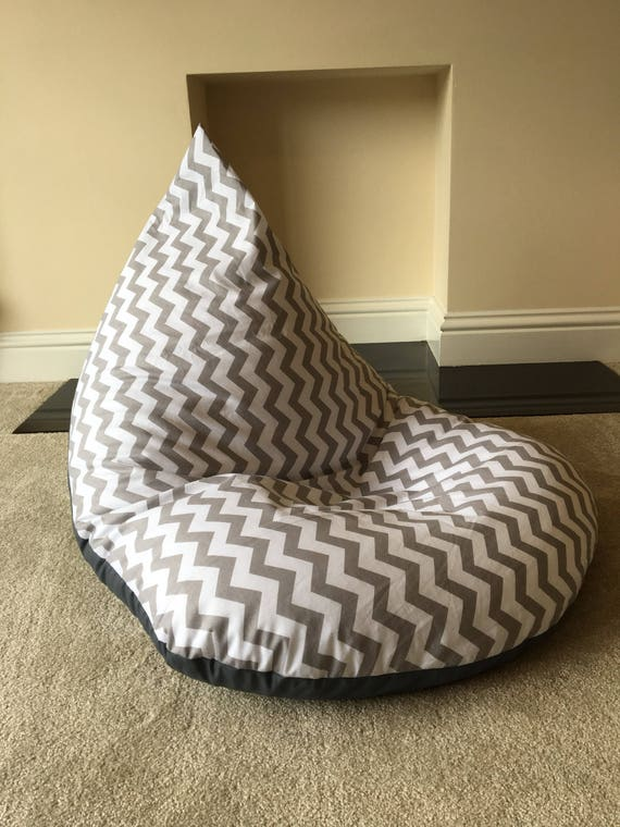 Pleasing Childrens Kids Chevron Grey Beanbag Bean Bag Gaming Reading Chair Made To Order Camellatalisay Diy Chair Ideas Camellatalisaycom