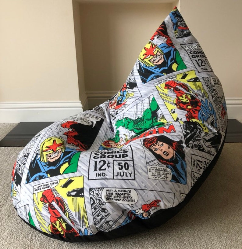 Peachy Childs Childrens Kids Gaming Beanbag Bean Bag Chair Super Hero Retro Marvel Avengers Reading Gaming Gmtry Best Dining Table And Chair Ideas Images Gmtryco