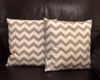 "Grey Chevron Cushion Cover Handmade New 12"" 14"" 16"" 18"""