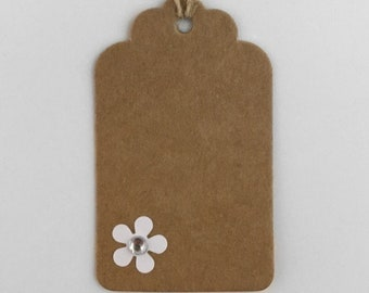 3 x Bespoke gift tags with flower