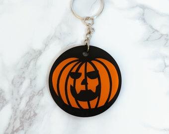 Pumpkin Black and Orange Gothic Halloween Keyring