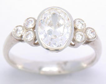 Oval and Trefoil Ring in Silver and Cubic Zirconia. John Fox