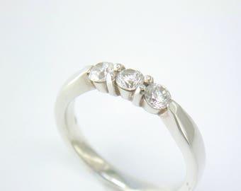 Classic Three Stone Ring in Silver and CZ. John Fox