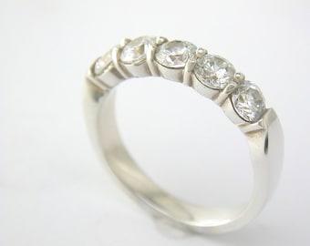 Half Eternity Peg Set Ring Silver and C.Z. John Fox