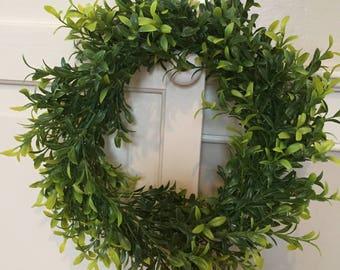 "11"" Faux Greenery Wreath, fixer upper Wreath, farmhouse wreath, rustic wreath"