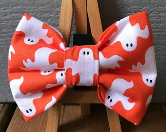 Ribbon Flower Boo Haunted Pet Photography Prop Unique Halloween Dog Accessories Spooky Wraith Ghost Glitter Dog Bow