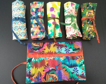 Fabric pencil case - Pencil roll - Pencil wrap - Makeup brushes case