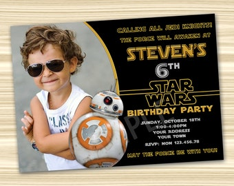 Star Wars Invitation Birthday Diy Party BB8 DIGITAL FILE