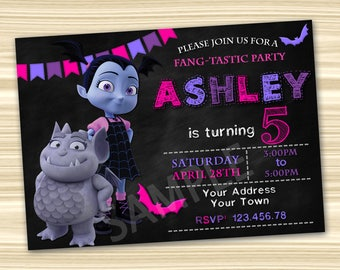 Vampirina Birthday Invitation. Diy Vampirina Birthday Party. Vampirina  Party Invitation. DIGITAL FILE.