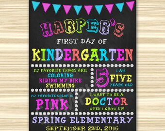 First Day Of School Sign Printable. First Day Of Kindergarten Sign. First Day Of Preschool Sign.