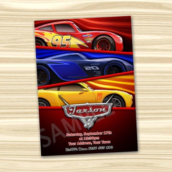 Cars 3 Invitation Party Diy Birthday
