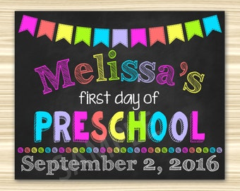 First Day Of Preschool Sign. First Day Of School Sign Printable. Graduation Chalkboard Sign.