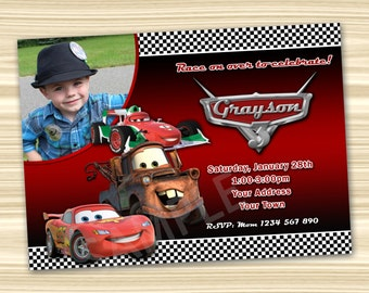 Cars Invitation. Cars Party Invitation. Diy Cars Birthday Party. Cars Printable. Lightning McQueen Invitation. DIGITAL FILE.