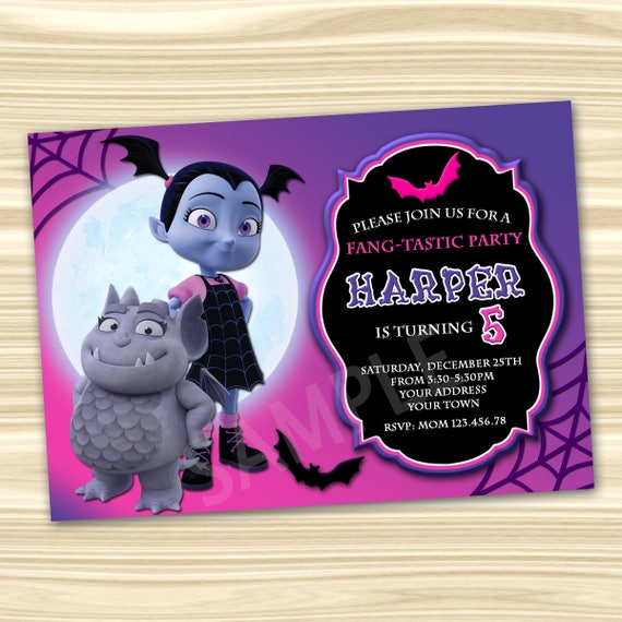 Vampirina Invitation. Vampirina Birthday Invitation. Diy