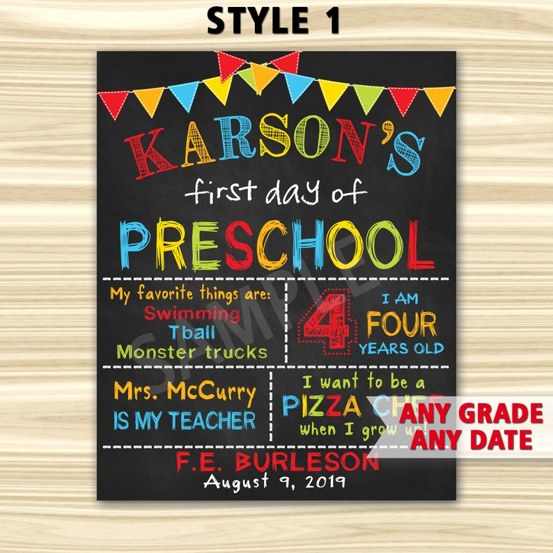 picture about First Day of Preschool Sign Printable titled To start with Working day Of Preschool Indicator Printable. 1st Working day Of Higher education Signal Printable. To start with Working day Of Kindergarten Signal. Commencement Chalkboard Signal.