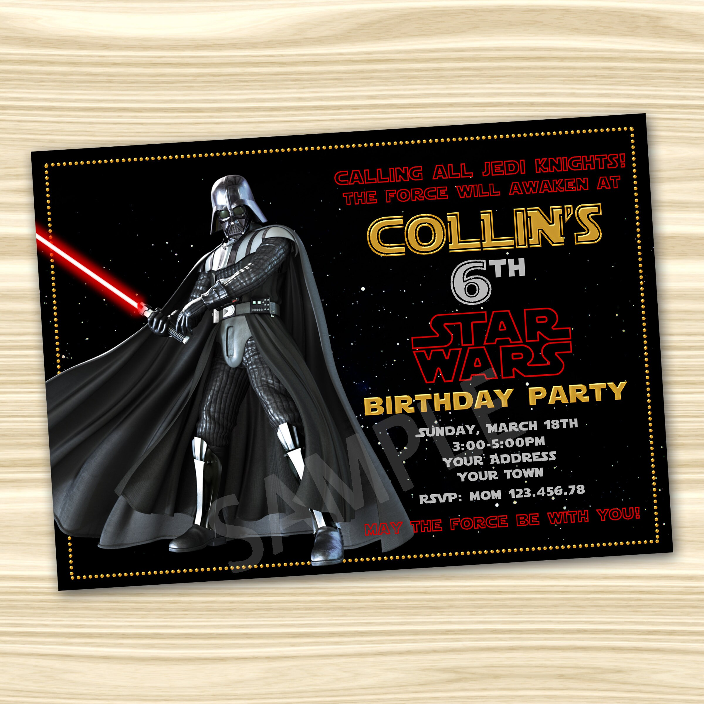 Darth Vader Star Wars Invitation Star Wars Birthday Etsy
