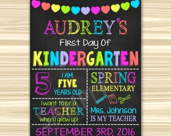 First Day Of Kindergarten Sign. First Day Of School Sign Printable. Graduation Chalkboard Sign.