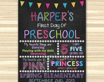 First Day Of School Sign Printable. First Day Of Preschool Sign. Graduation Chalkboard Sign.