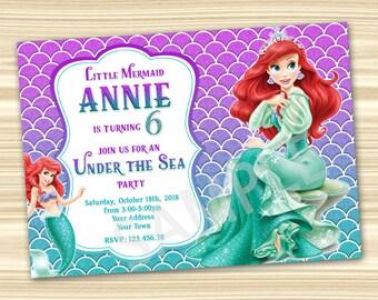 Ariel birthday invitations Etsy