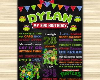 Teenage Mutant Ninja Turtles Chalkboard Poster. Ninja Turtles Birthday Chalkboard. TMNT Birthday oster. ANY AGE.Sign. Ninja Turtles P