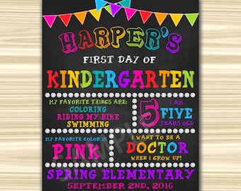 First Day Of School Sign Printable. First Day Of Kindergarten Sign Printable. Graduation Chalkboard Sign.