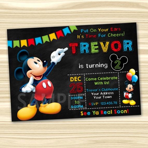 Mickey Mouse Invitations Mickey Mouse Party Invitation Etsy