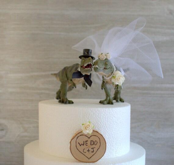 Dinosaur Wedding Cake Topper Prehistoric Funny Wedding Cake T Rex Jurassic Cake Topper Animal Dinosaurs