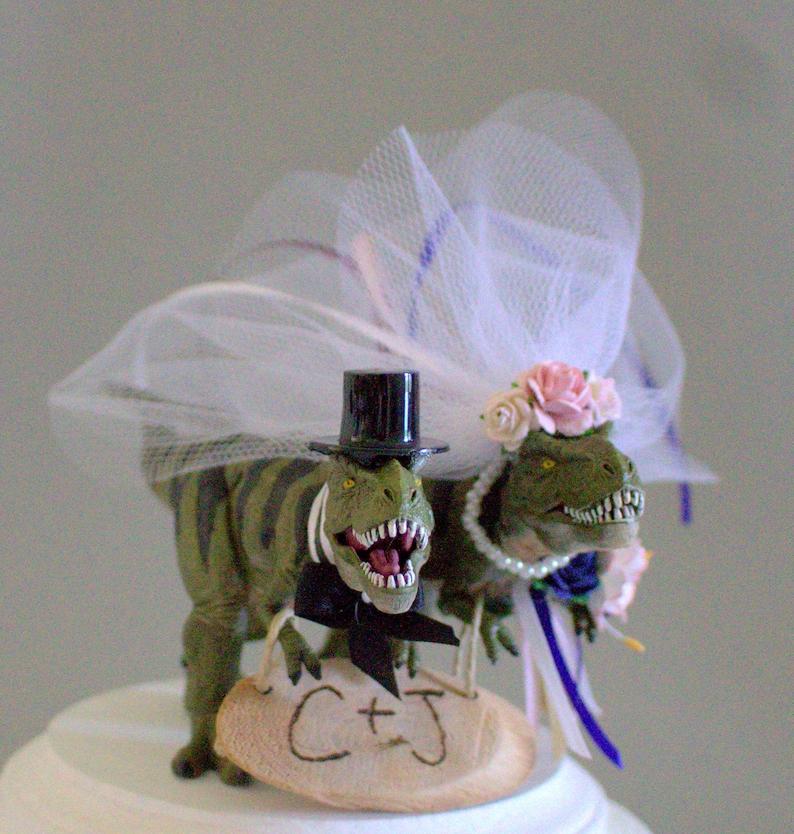 T-rex Dinosaur Funny Cake Topper Jurassic Park Wedding Cake Topper groom top NEW