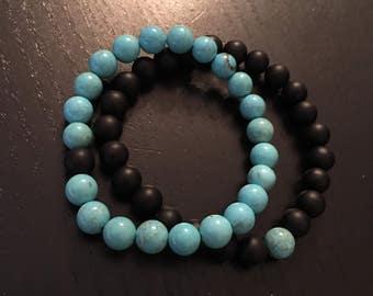 Turquoise distance bracelet set