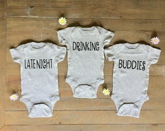 dd4ad6231 Triplet Outfits - Late Night Drinking Buddies - Triplet Onesies - Funny  Onesies - Baby Shower Gift - Funny Baby Bodysuit - Matching Onesies
