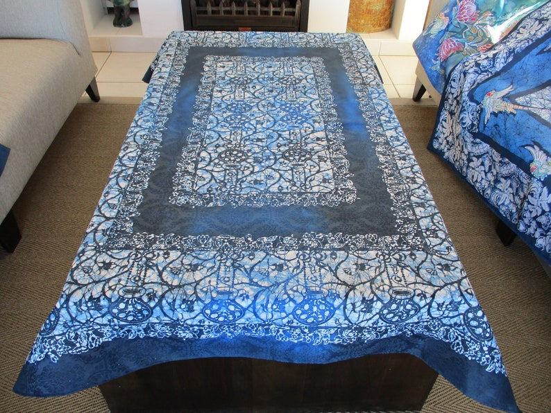 Classical Pattern in Blue authentic wax Batik table cloth rectangular