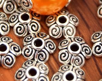 10 spiral bead caps caps Fleur ref PC2016010 10mm antique silver