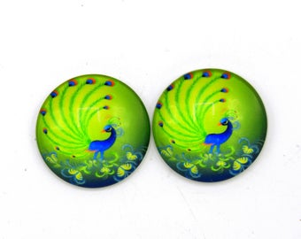 """4 cabochons round glass with Peacock green 25mm images """"14"""""""