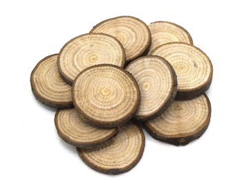 x 50 wood slices of chestnut wood o35 decor ~ 45mm - organic untreated, no varnish /oak Washers for wooden decoration