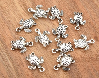 Old silver turtle charms 16mm Per batch of 20/50 unit